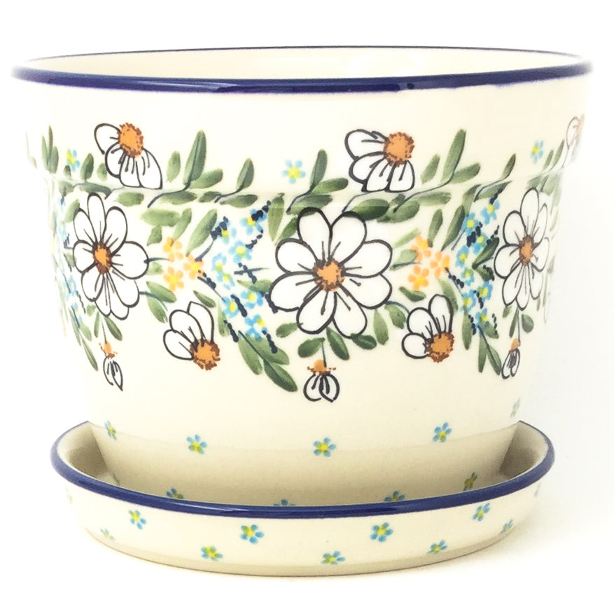 Lg Flower Pot w/Plate in Spectacular Daisy