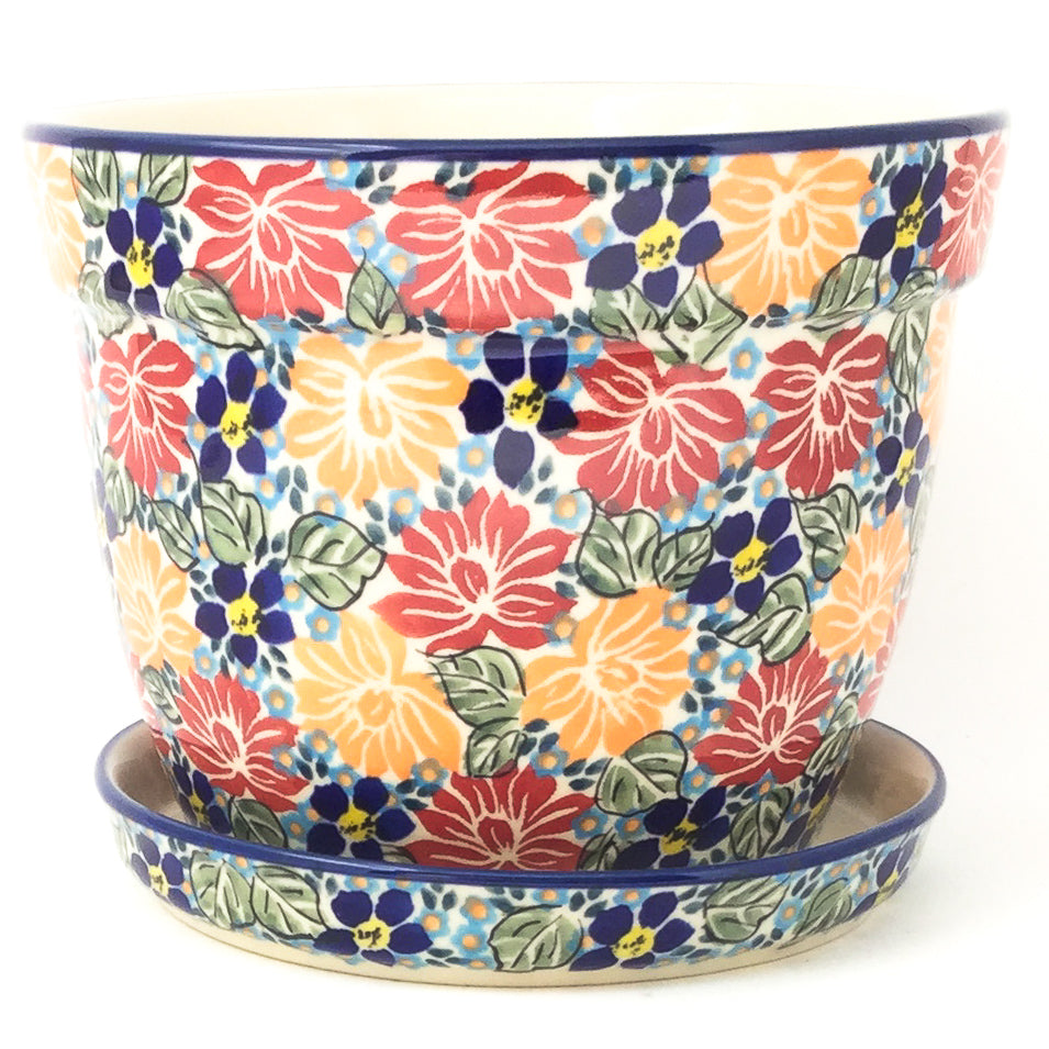 Lg Flower Pot w/Plate in Just Glorious