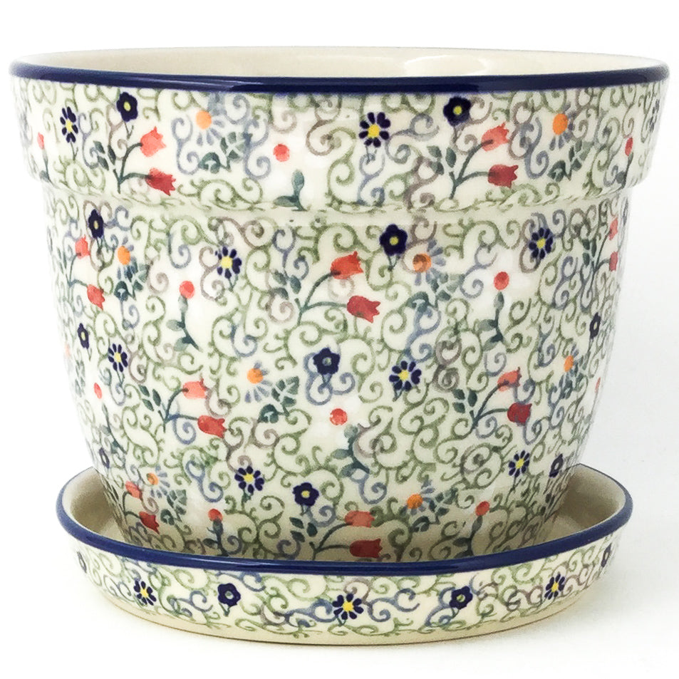 Lg Flower Pot w/Plate in Early Spring