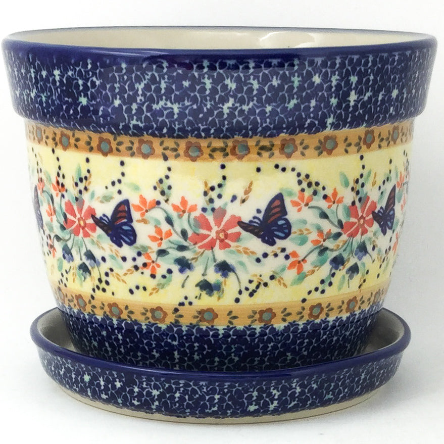 Lg Flower Pot w/Plate in Butterfly Meadow