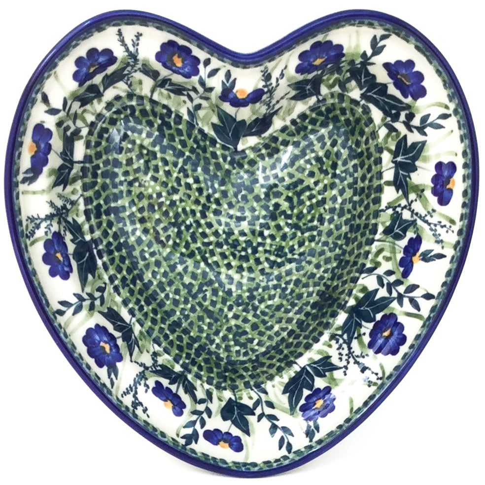 Lg Hanging Heart Dish in Wild Blue