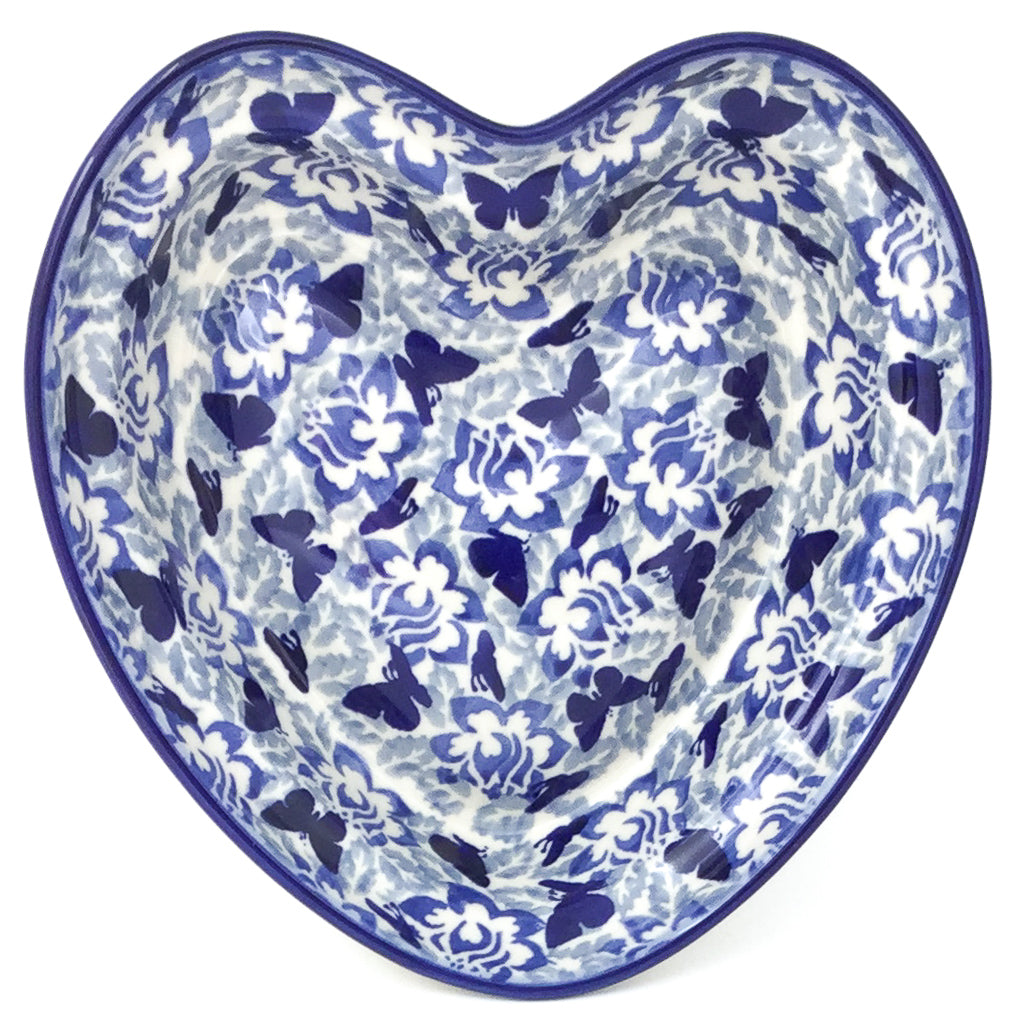 Lg Hanging Heart Dish in Blue Butterfly