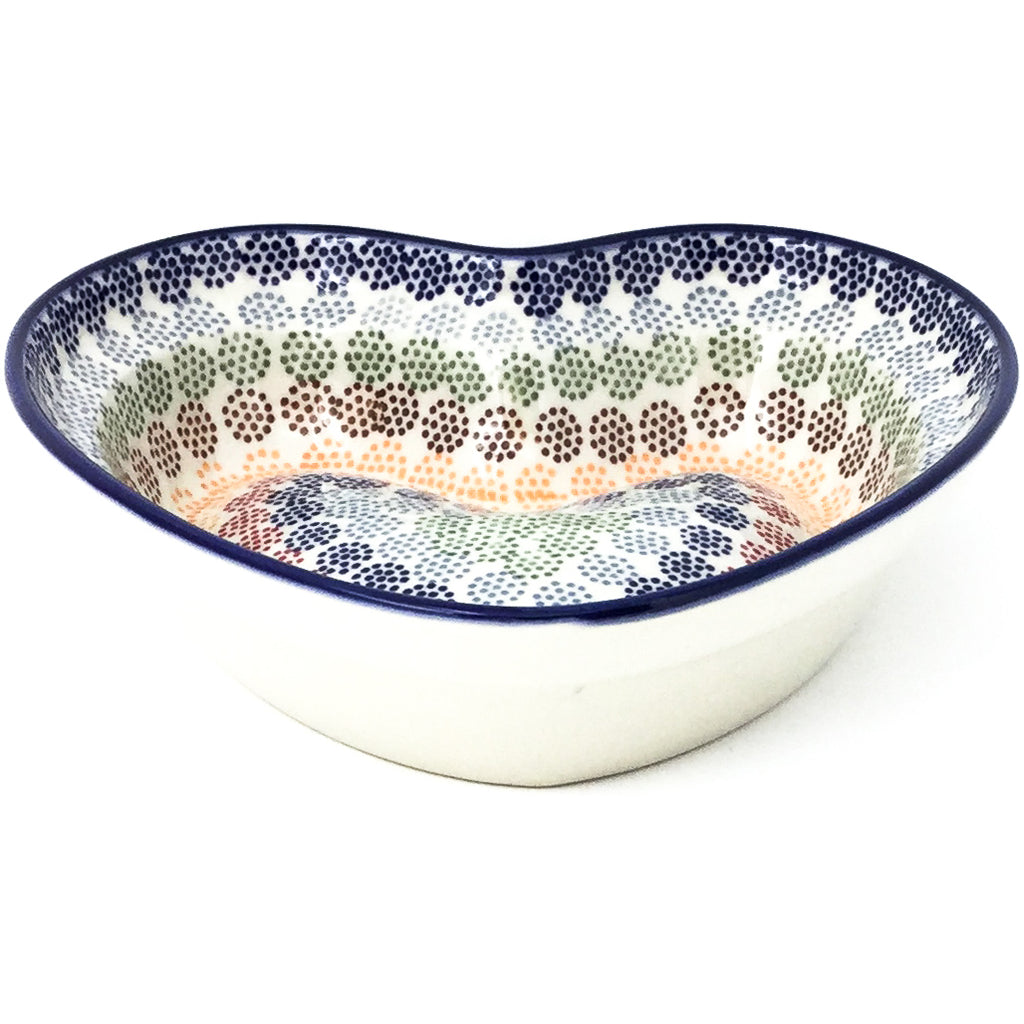 Lg Hanging Heart Dish in Modern Dots