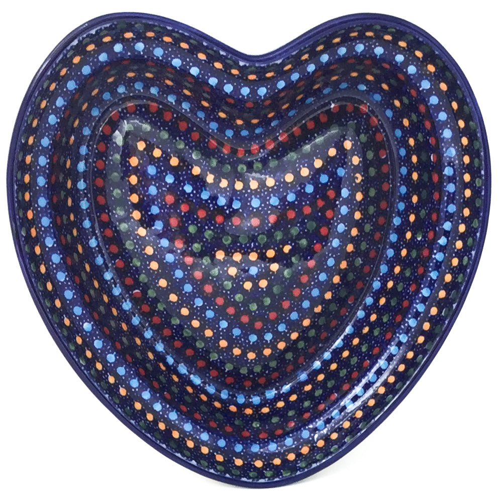 Lg Hanging Heart Dish in Multi-Colored Dots