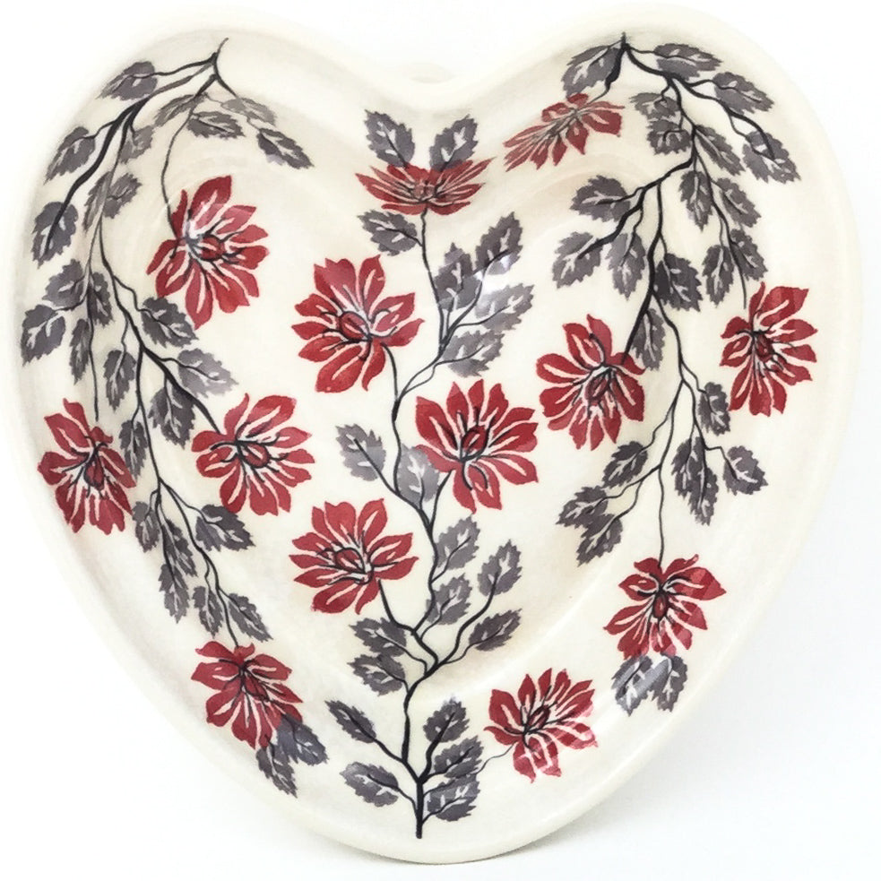 Lg Hanging Heart Dish in Red & Gray