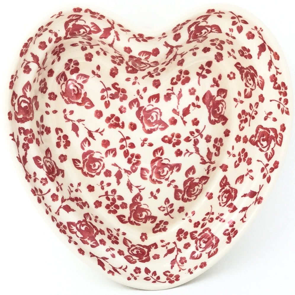 Lg Hanging Heart Dish in Antique Red