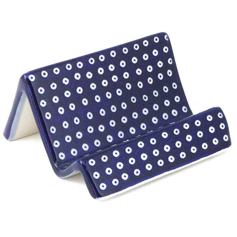 Business Card/Smart Phone Holder in Blue Elegance