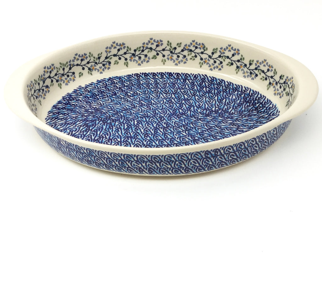 Lg Oval Baker w/Handles in Blue Meadow