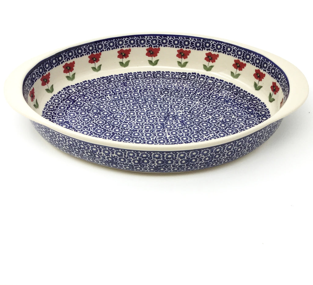 Lg Oval Baker w/Handles in Red Daisy