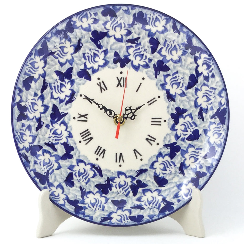 Plate Wall Clock in Blue Butterfly