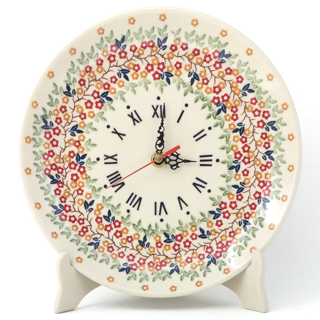 Plate Wall Clock in Tiny Flowers
