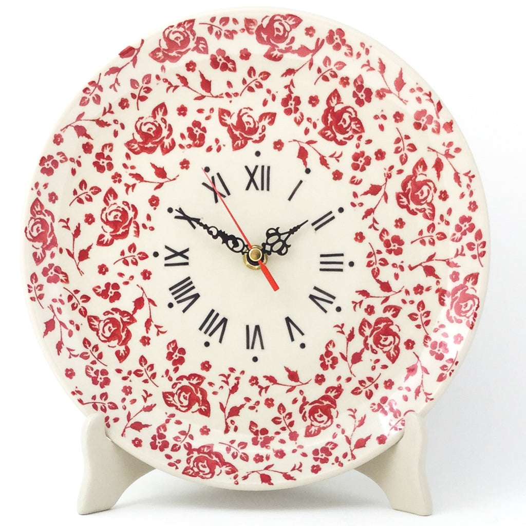 Plate Wall Clock in Antique Red