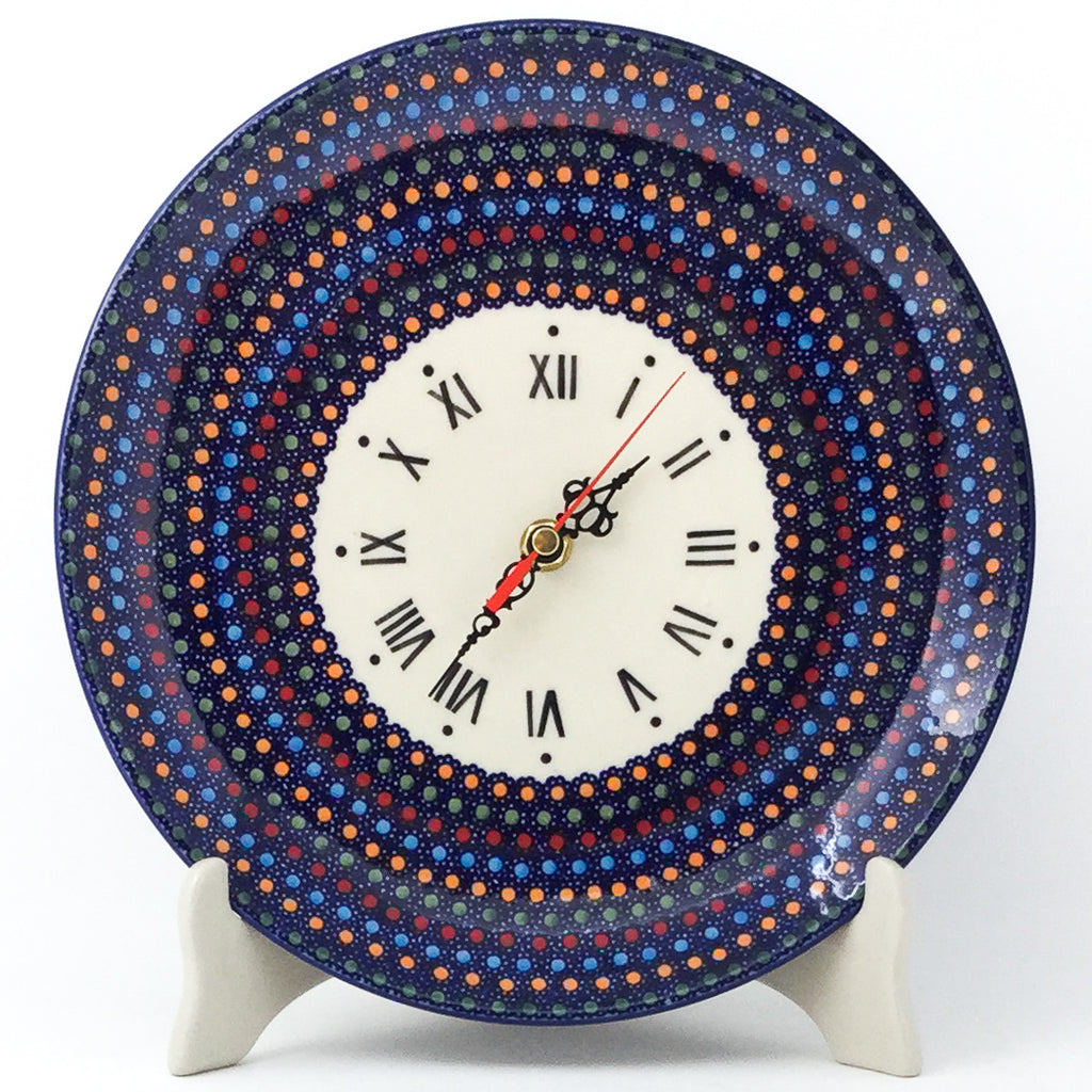 Plate Wall Clock in Multi-Colored Dots