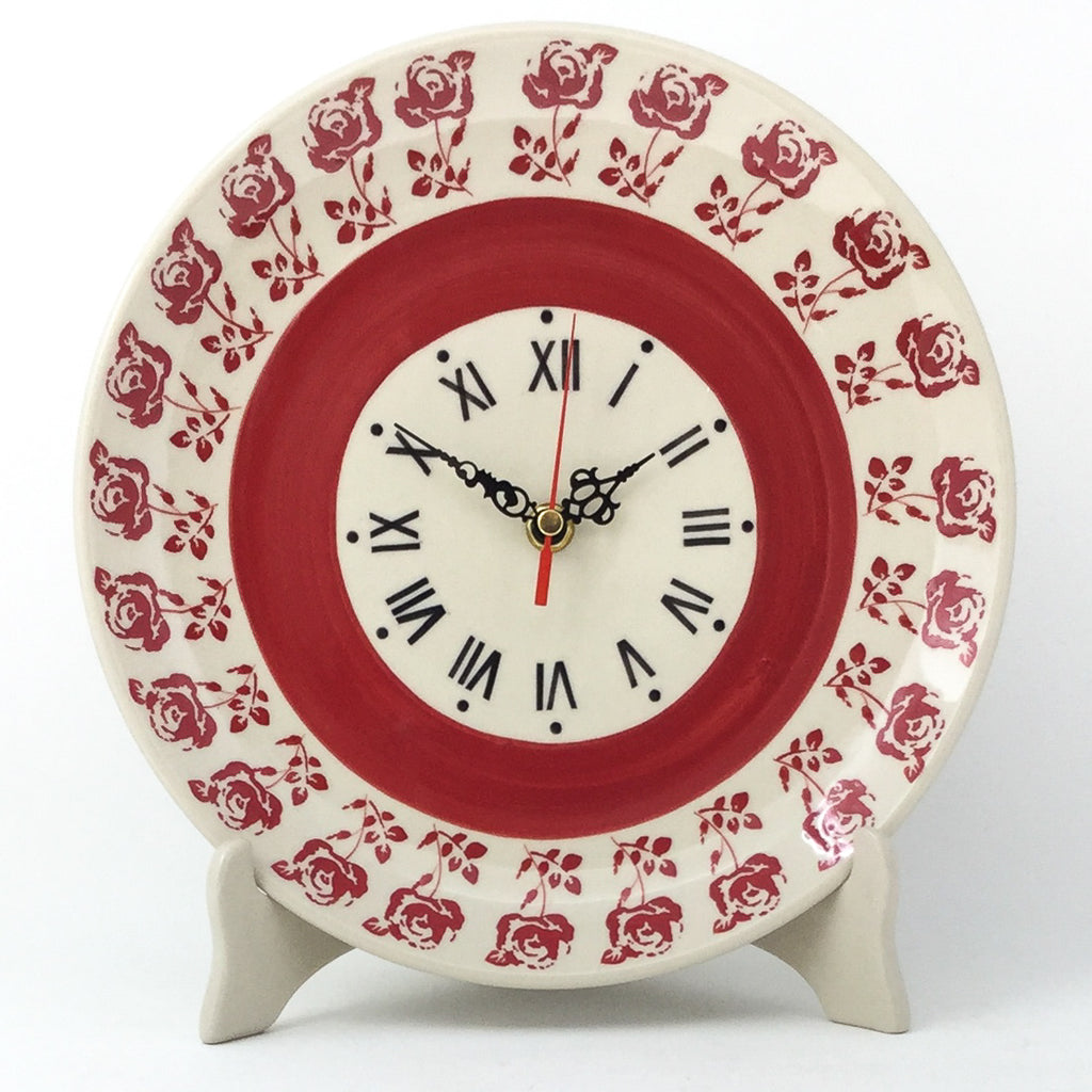 Plate Wall Clock in Red Rose