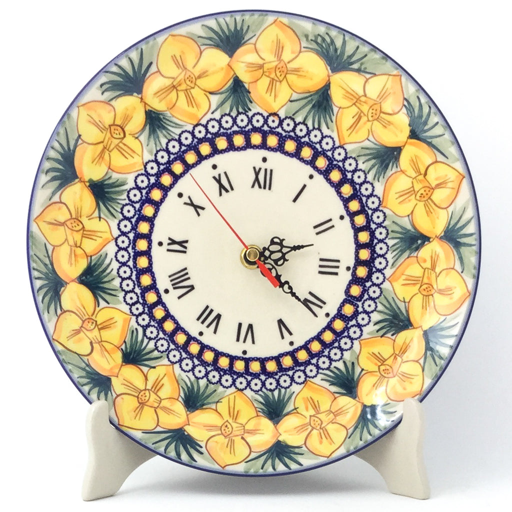 Plate Wall Clock in Daffodils