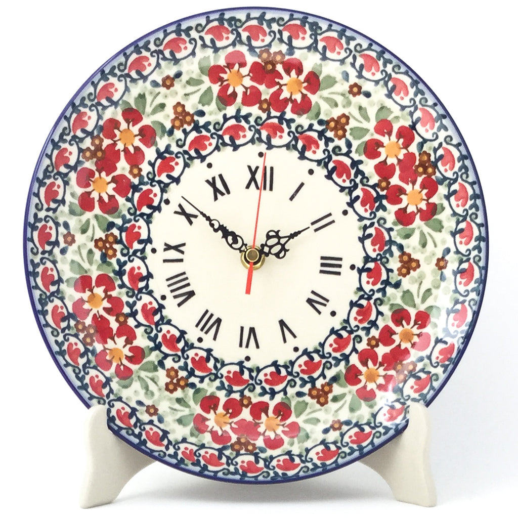 Plate Wall Clock in Red Poppies