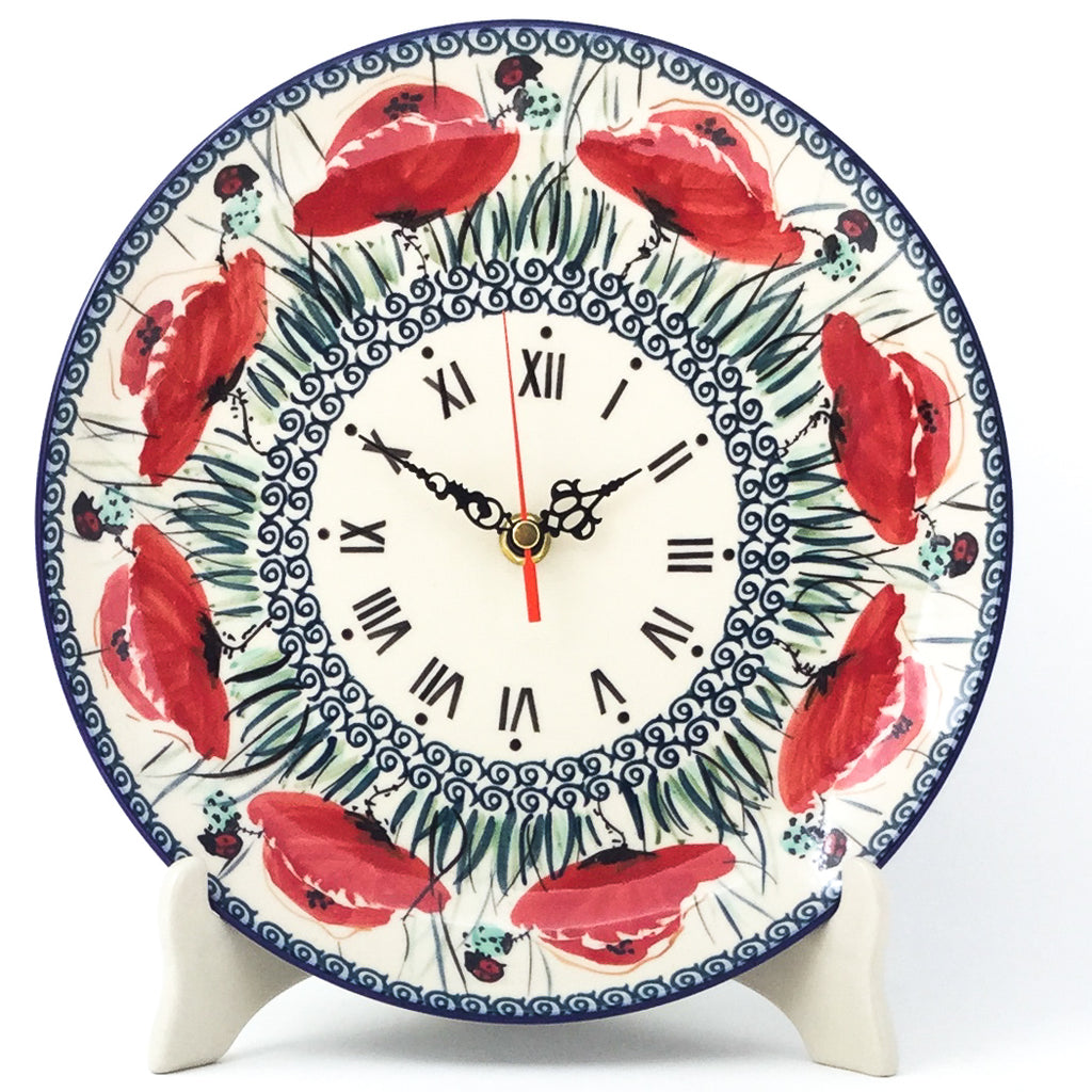 Plate Wall Clock in Polish Poppy