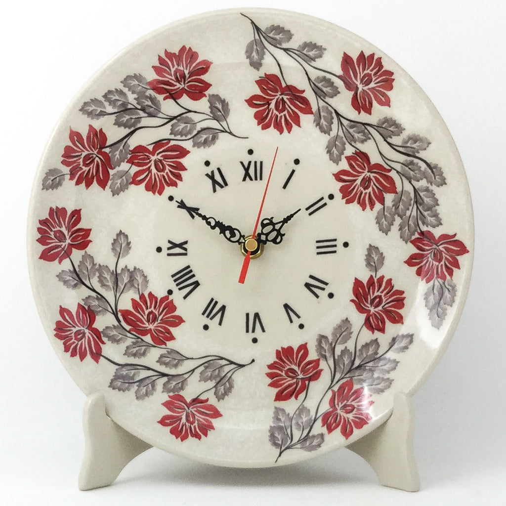 Plate Wall Clock in Red & Gray