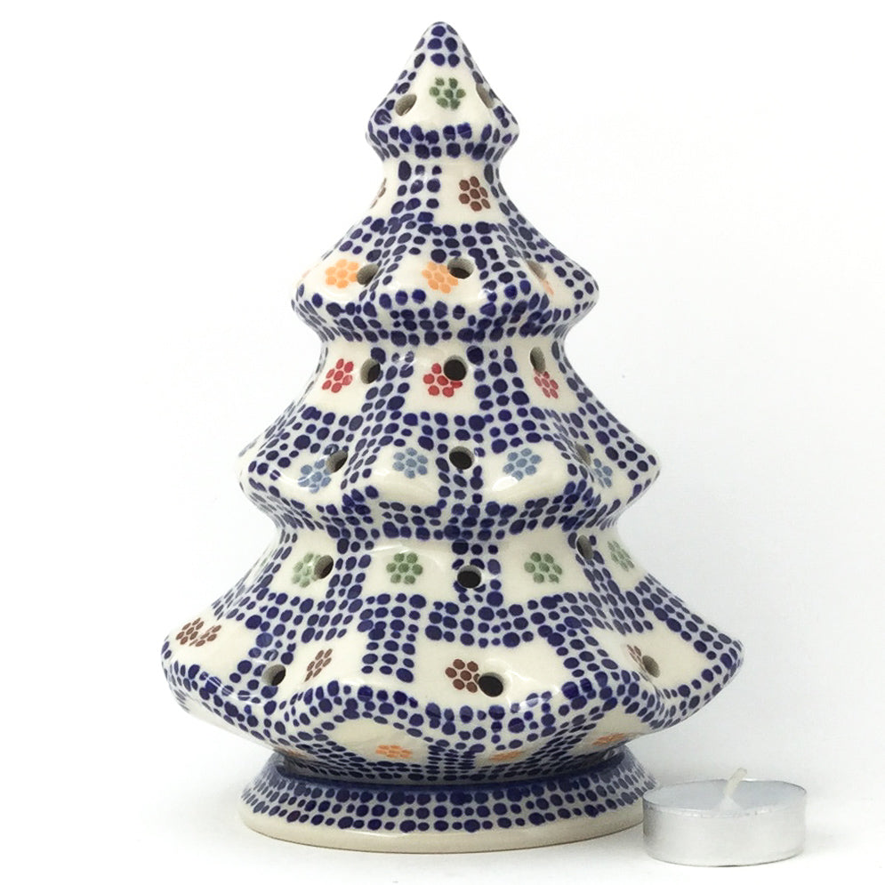 Tree Tea Candle Holder in Modern Checkers