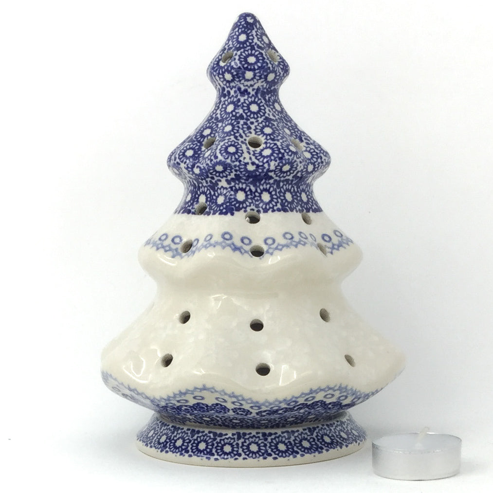 Tree Tea Candle Holder in Delicate Blue
