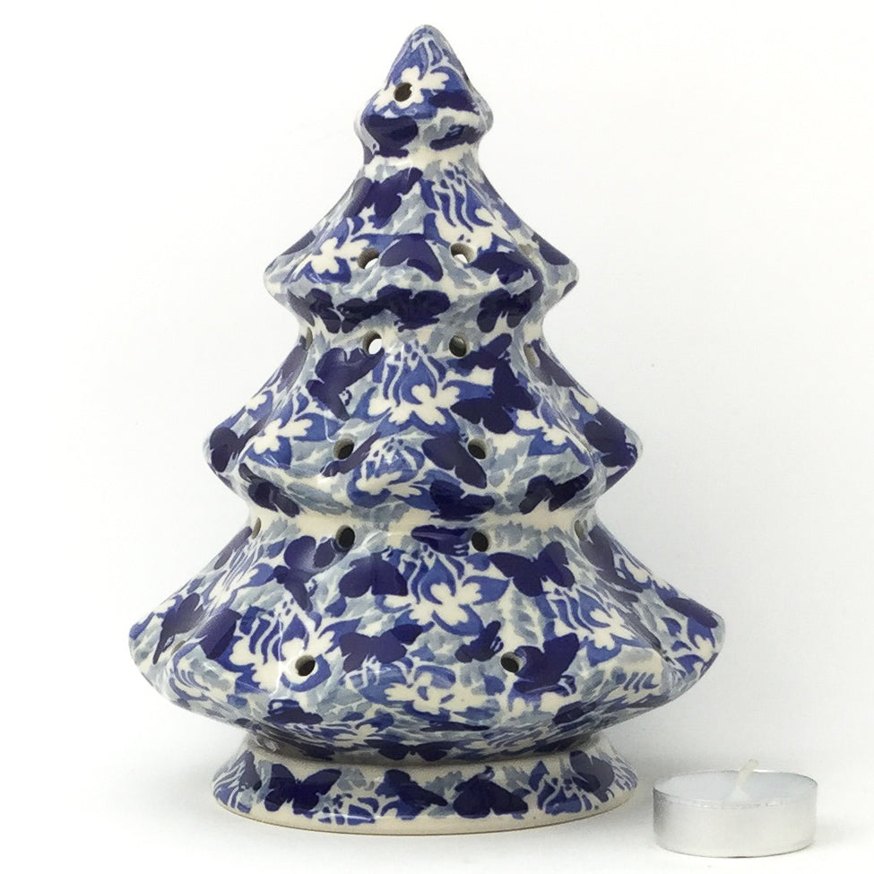 Tree Tea Candle Holder In Blue Butterfly