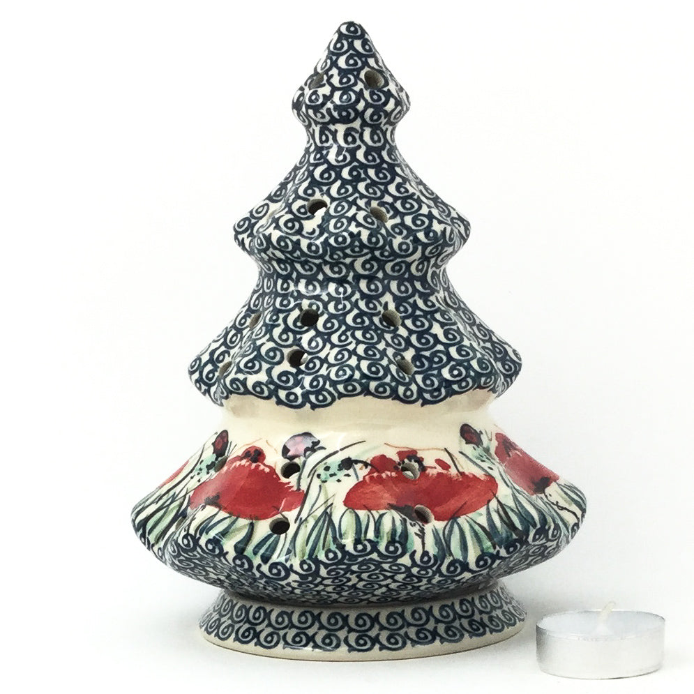 Tree Tea Candle Holder in Polish Poppy