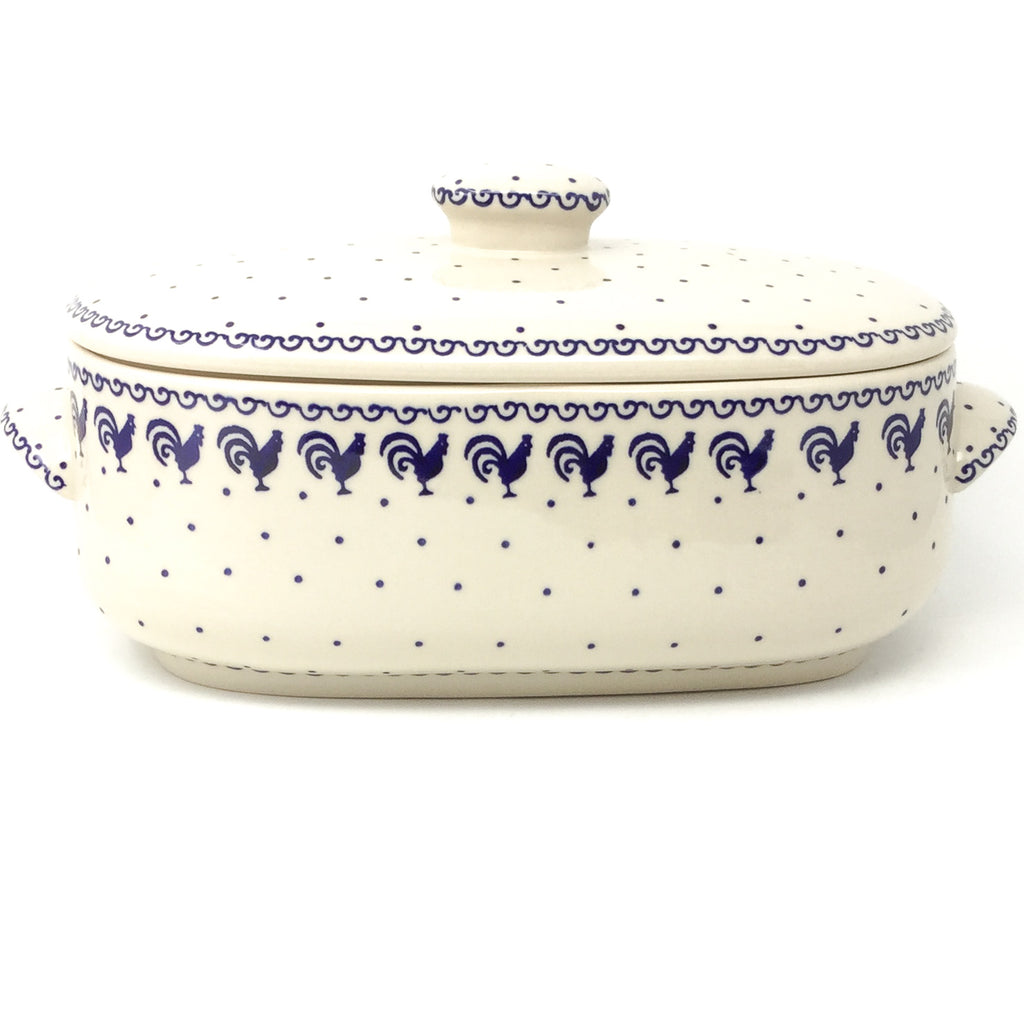 Covered Oval Baker 4 qt in Blue Roosters