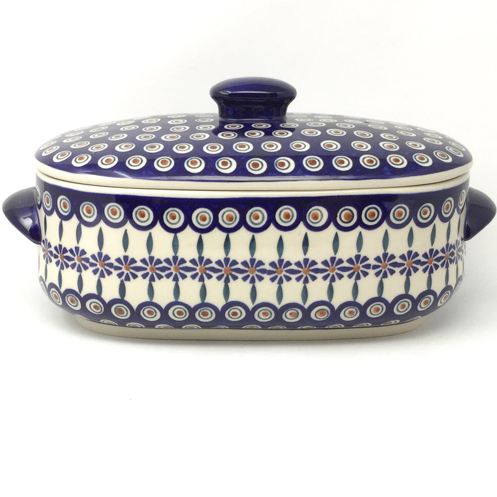 Covered Oval Baker 4 qt in Peacock