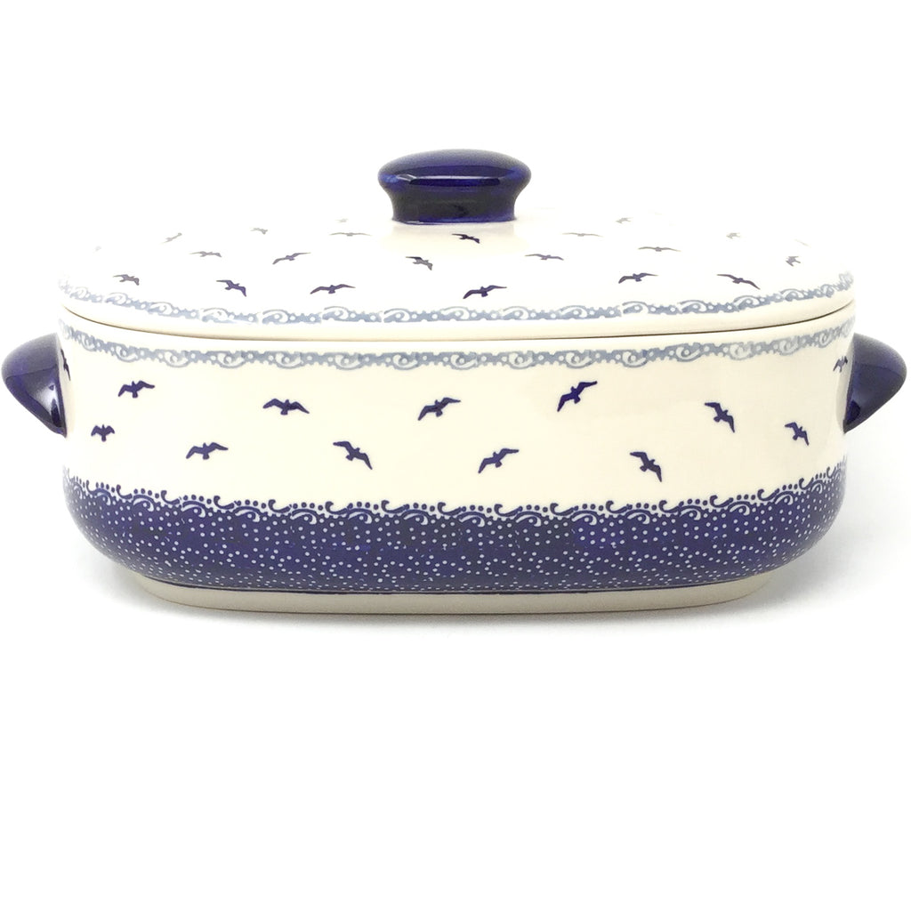 Covered Oval Baker 4 qt in Seagulls