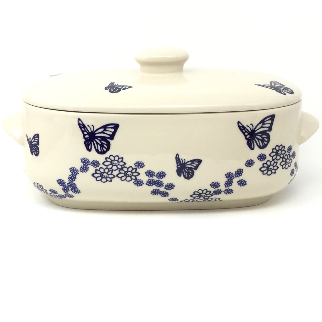 Covered Oval Baker 4 qt in Butterfly