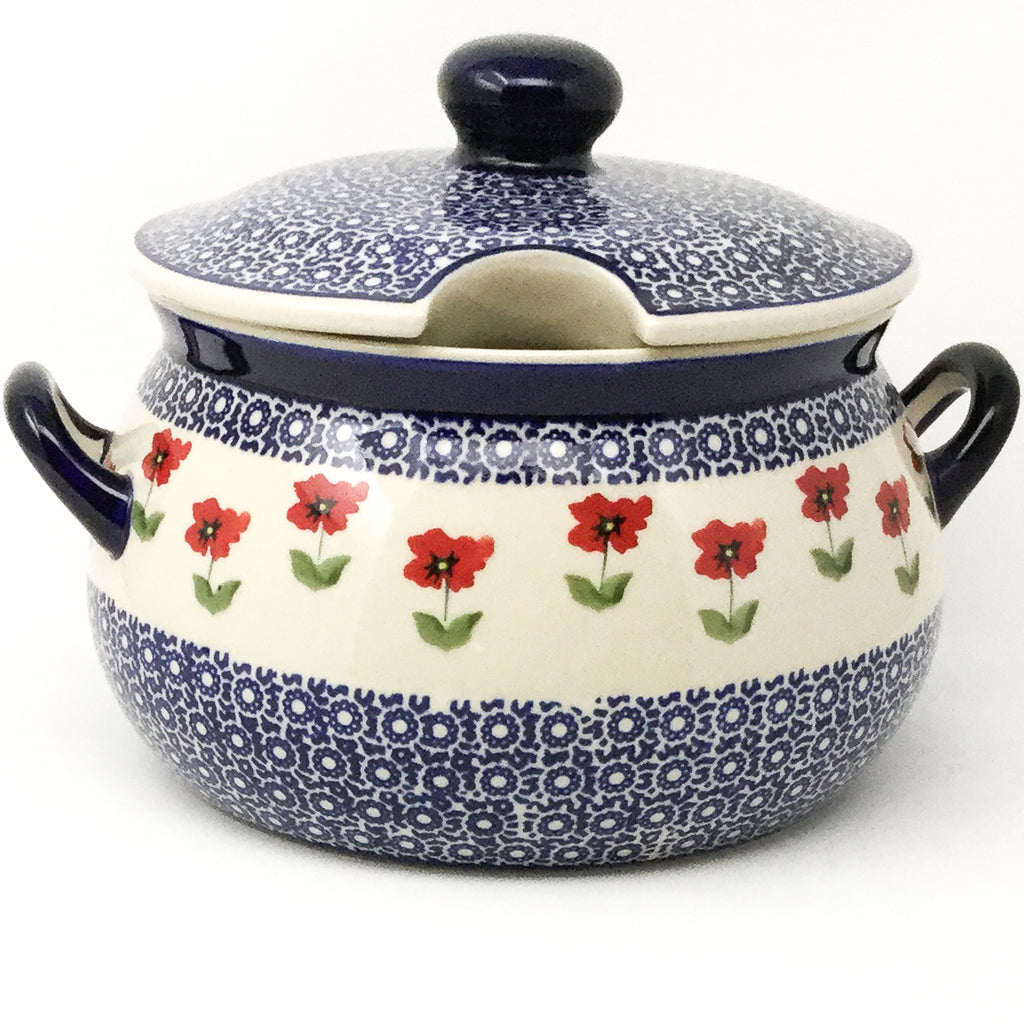 Covered Tureen 4 qt in Red Daisy