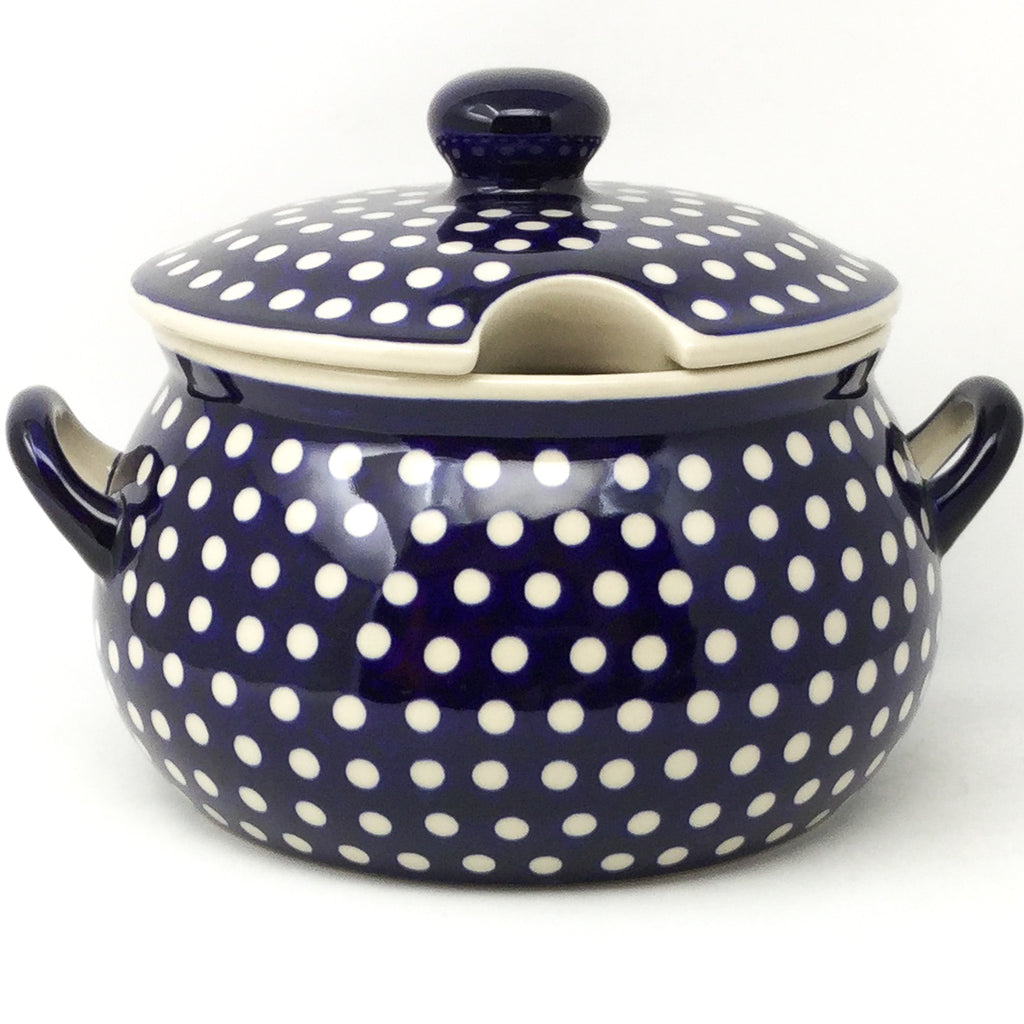 Covered Tureen 4 qt in White Polka-Dot