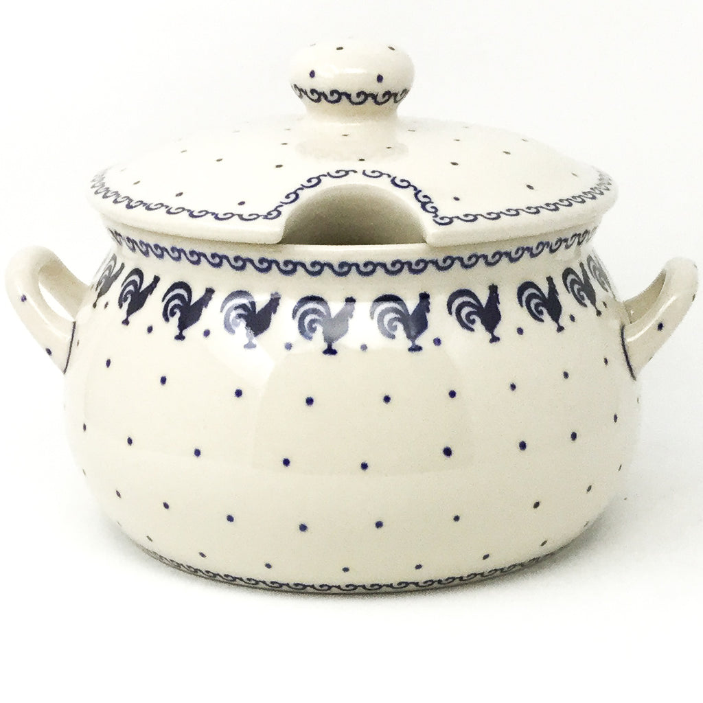 Covered Tureen 4 qt in Blue Roosters