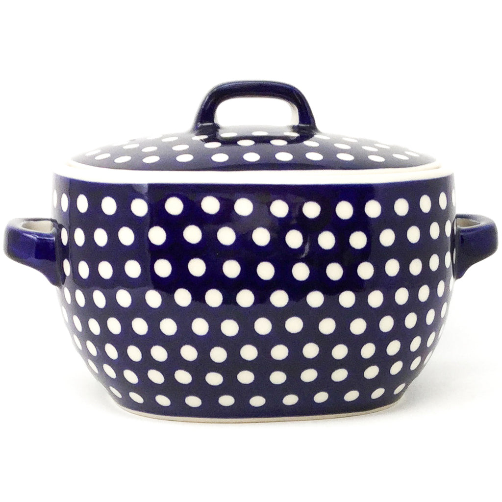 Covered Keeper 3 qt in White Polka-Dot
