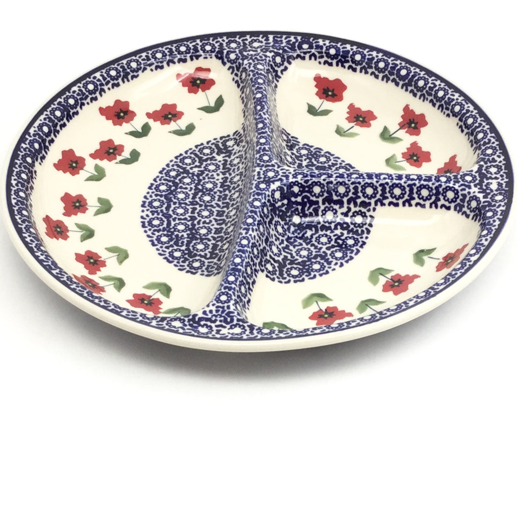 Divided Plate in Red Daisy