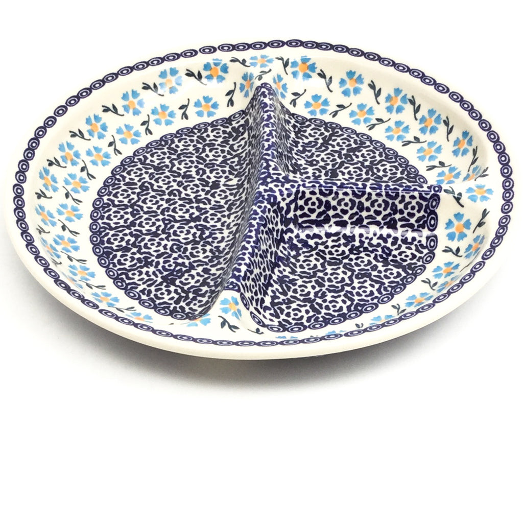 Divided Plate in Blue Daisy