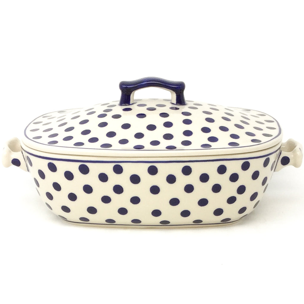 Covered Rect. Baker 3 qt in Blue Polka-Dot