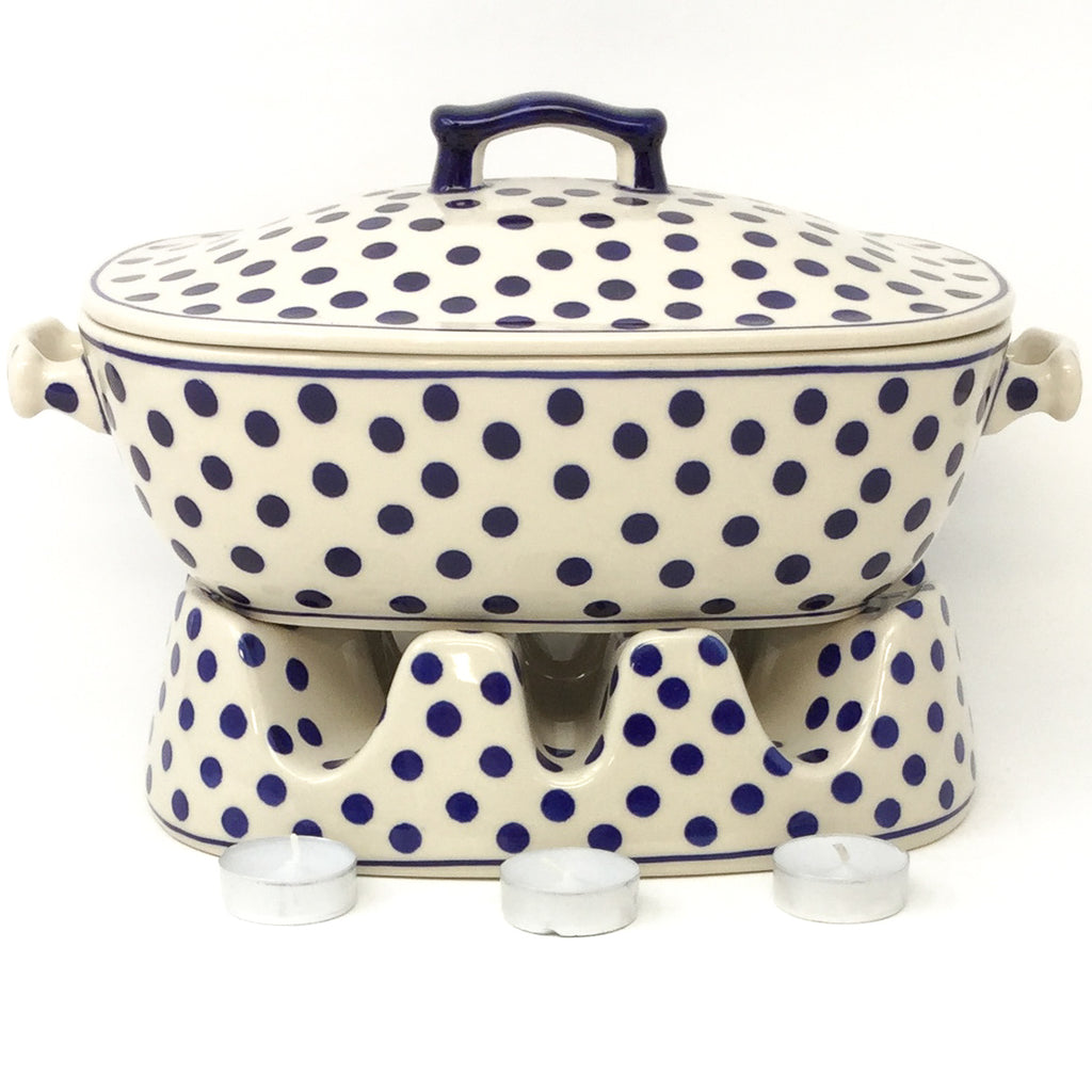 Heater for Cov'd Rect. Baker 3 qt in Blue Polka-Dot