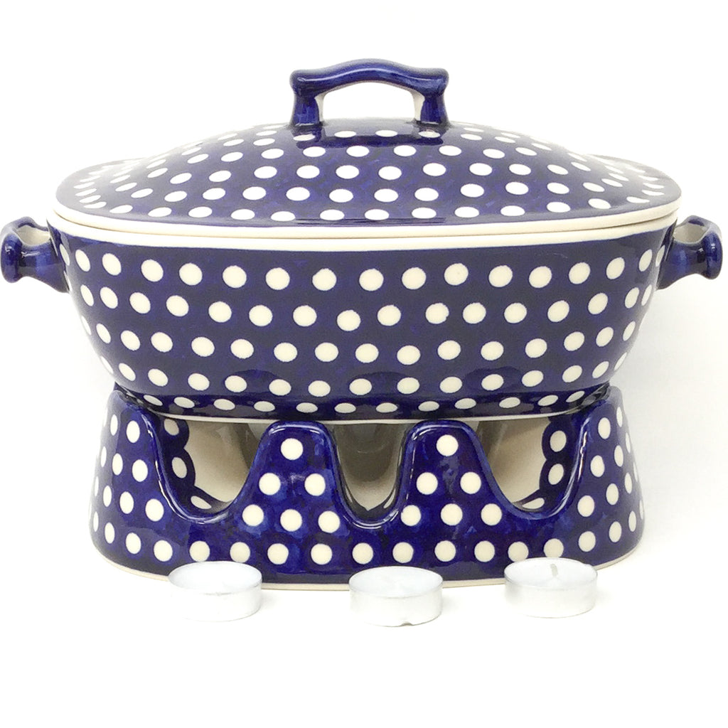 Covered Rect. Baker 3 qt in White Polka-Dot