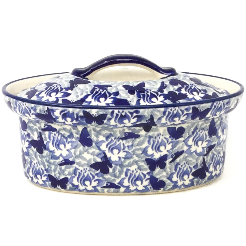 Oval Server w/Cover 1 qt in Blue Butterfly