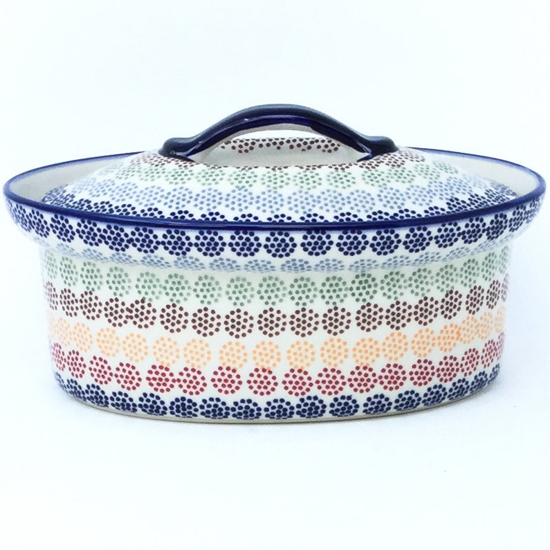 Oval Server w/Cover 1 qt in Modern Dots