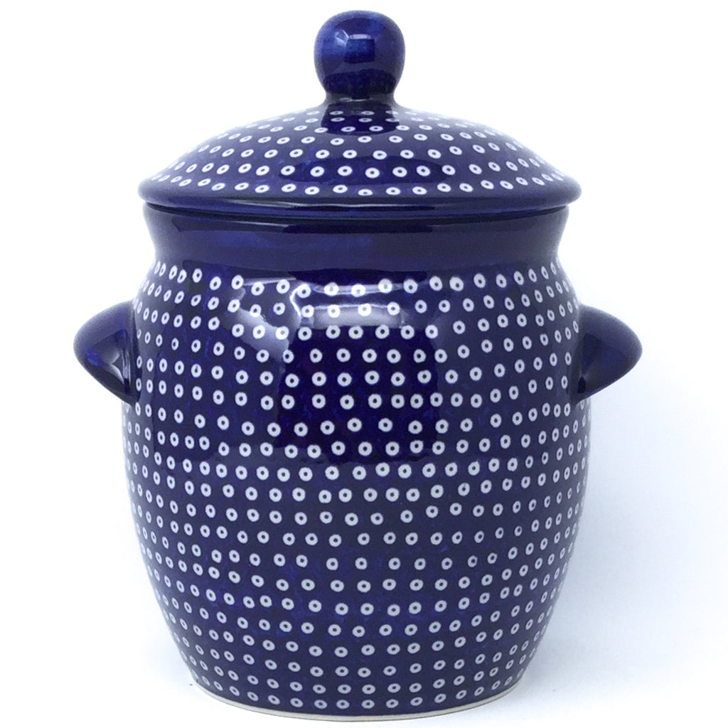Sm Canister w/Handles in Blue Elegance