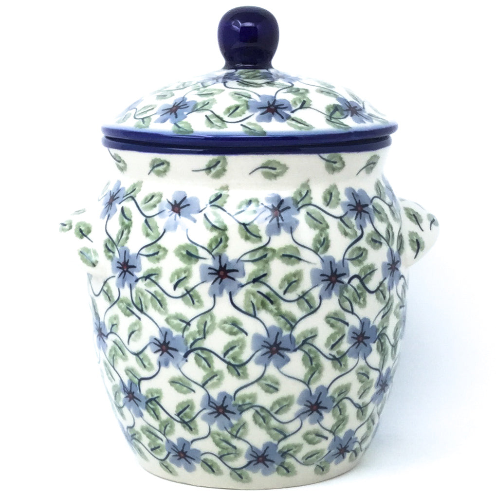 Sm Canister w/Handles in Blue Clematis