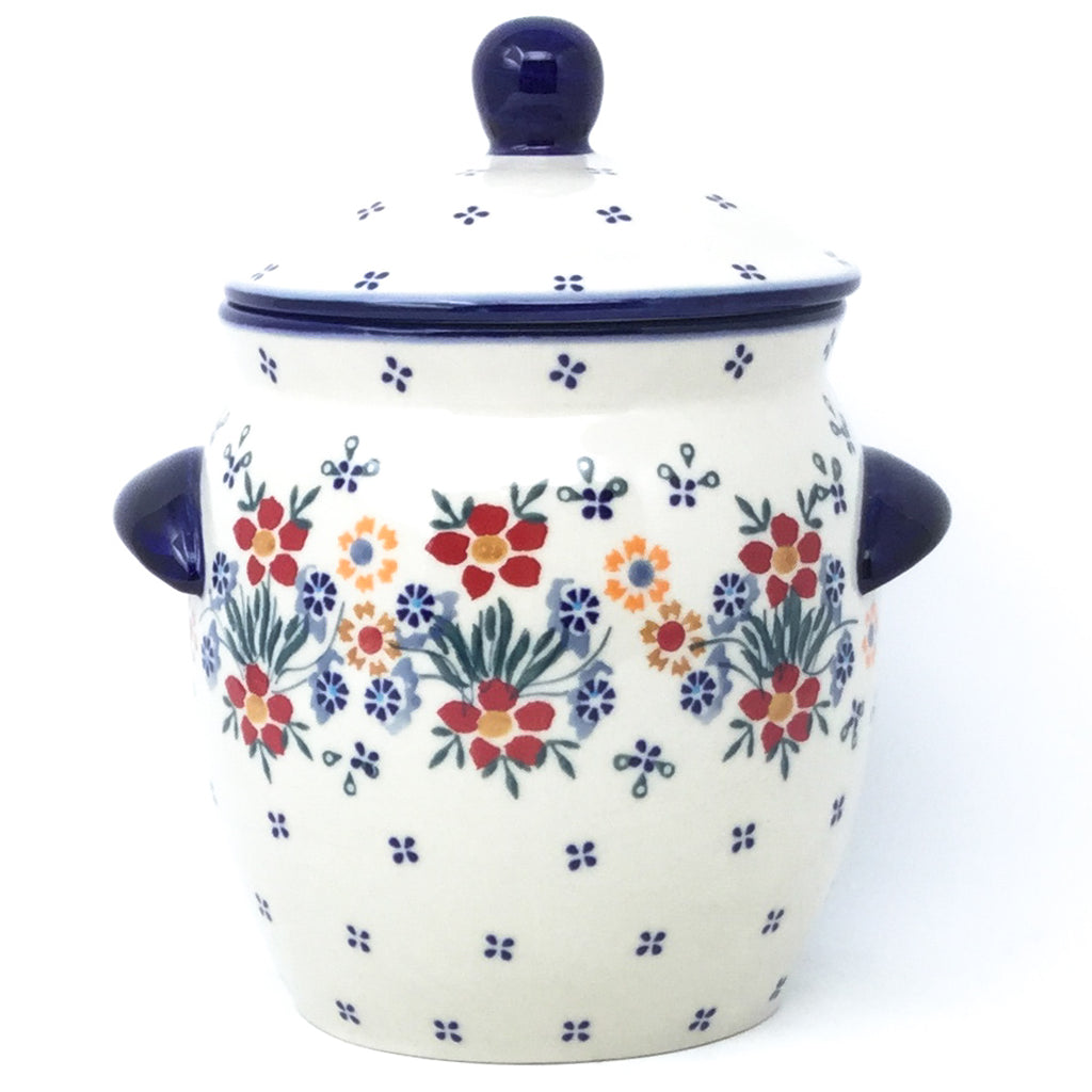 Sm Canister w/Handles in Delicate Flowers