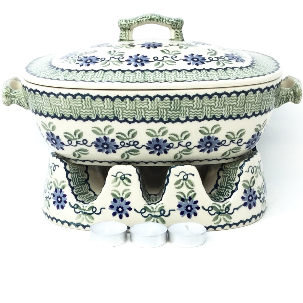 Covered Rect. Baker 3 qt in Blue & Green Flowers