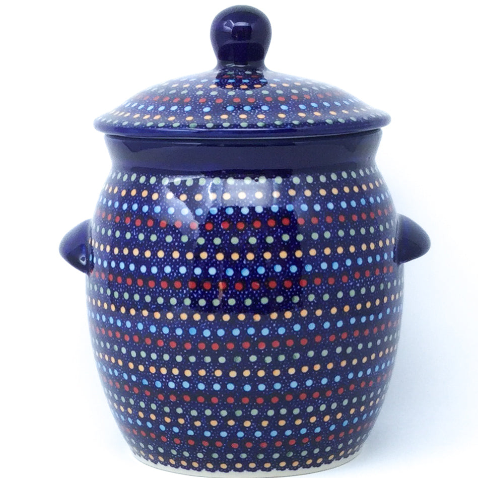 Md Canister w/Handles in Multi-Colored Dots