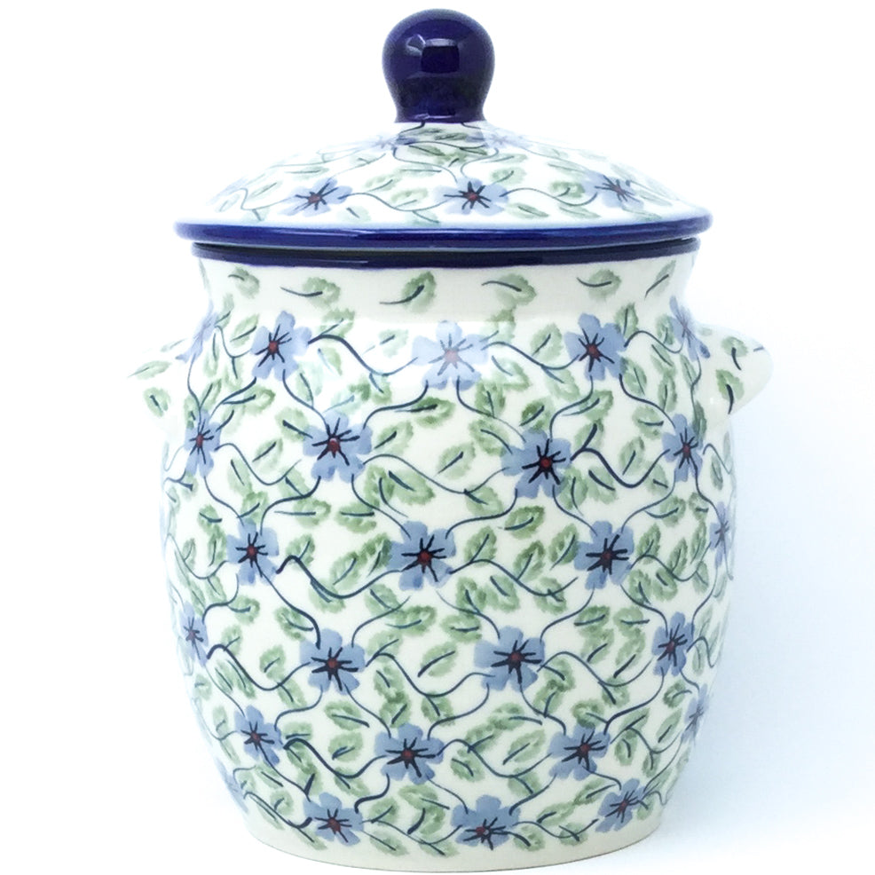 Md Canister w/Handles in Blue Clematis