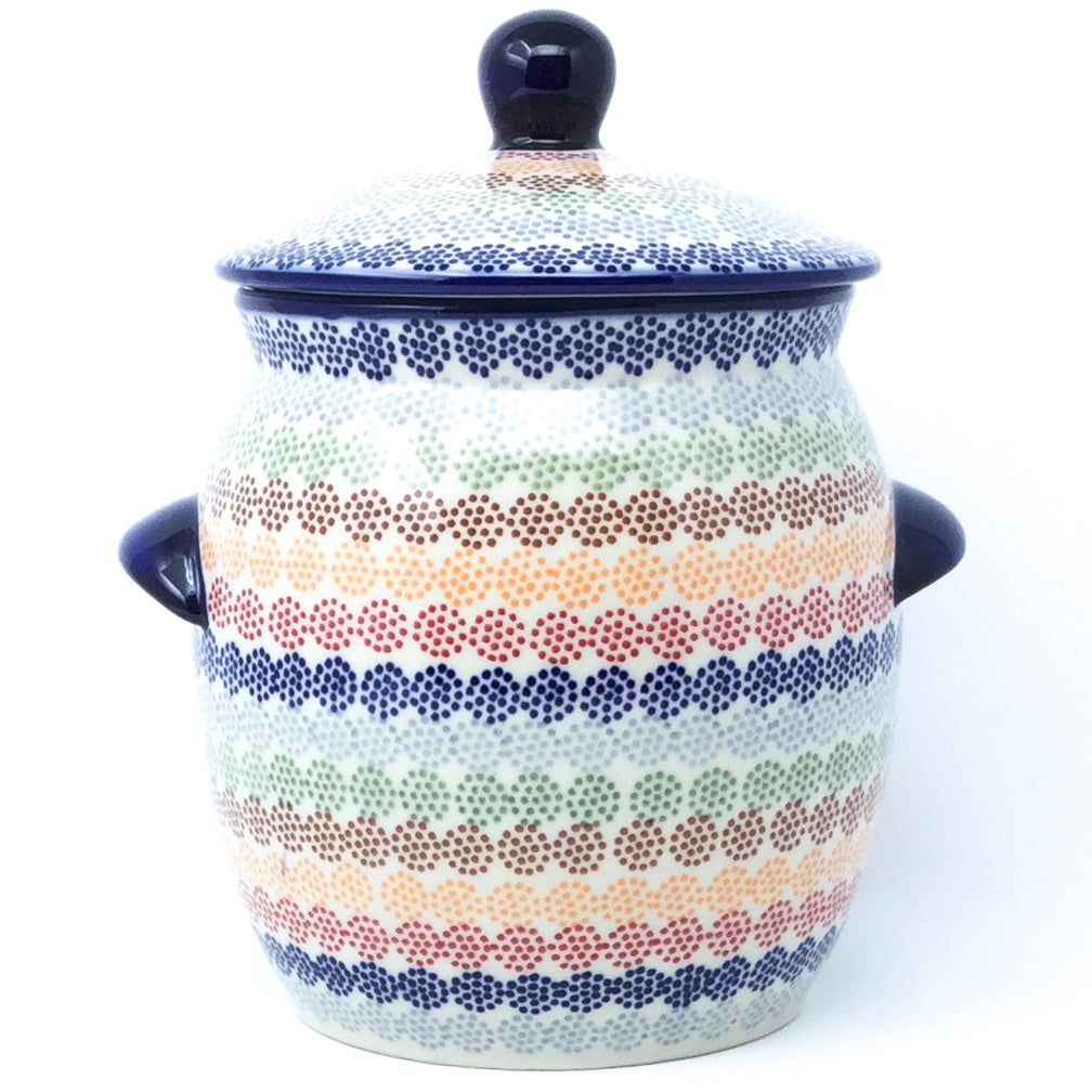 Md Canister w/Handles in Modern Dots