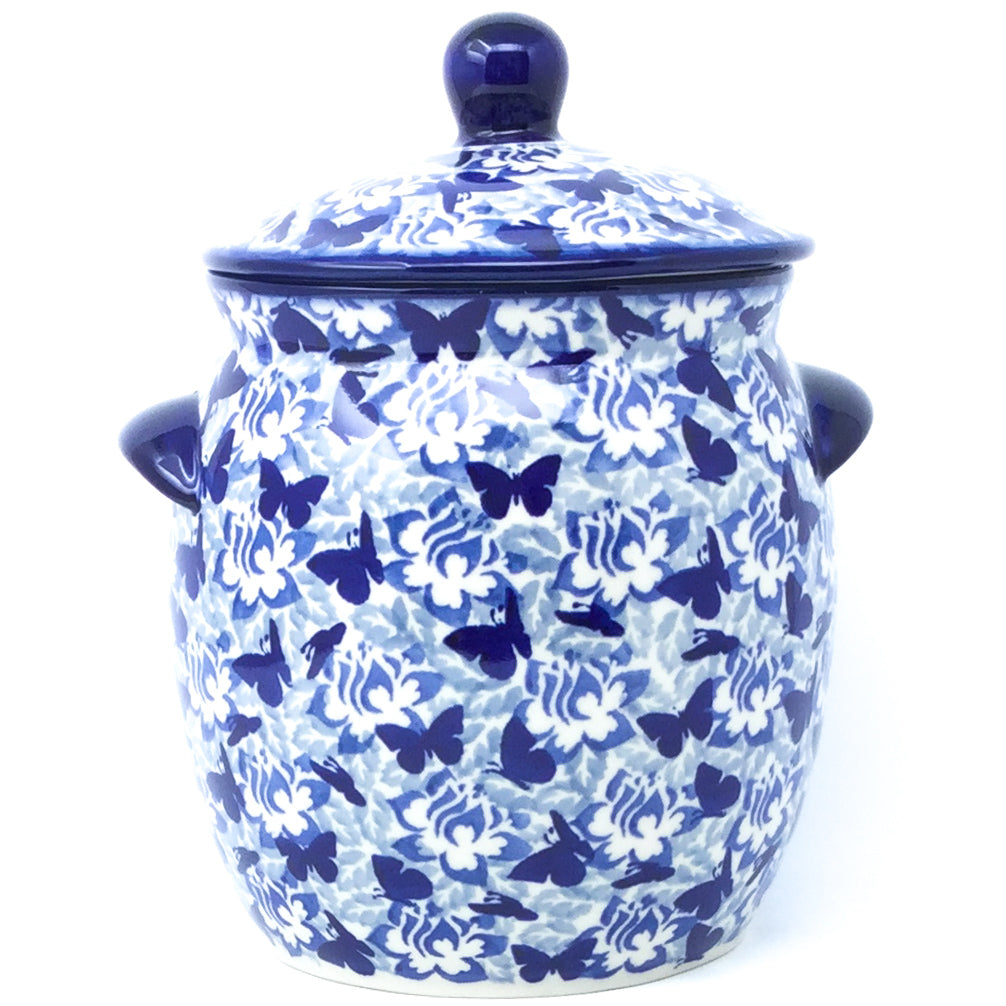 Md Canister w/Handles in Blue Butterfly