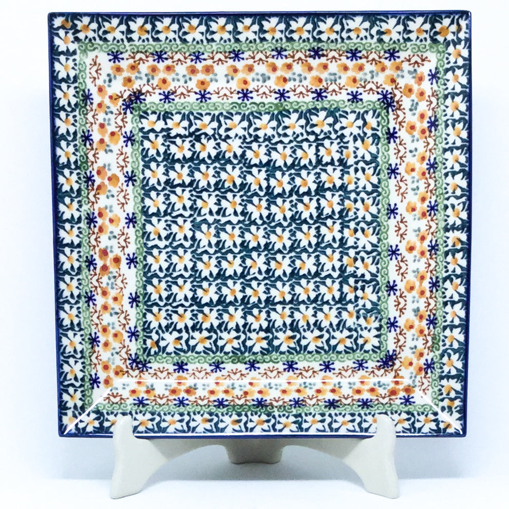 Square Platter in White Daisy